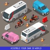 Ensemble plat isométrique de tourisme du véhicule 3d Illustration de Vecteur