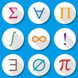 Ensemble plat moderne de thème d'éducation d'illustration de vecteur de symboles mathématiques d'icônes plates colorées de maths  Image libre de droits