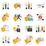 Ensemble plat multicolore d'icône d'assurance Image libre de droits