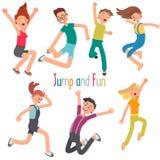 Ensemble plat sautant gai d'illustration de couleur des jeunes illustration libre de droits