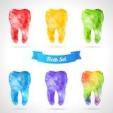 Ensemble polygonal de vecteur de dents illustration stock
