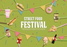 Ensemble populaire de bannière de chaîne alimentaire, conception plate Affiche de festival illustration stock