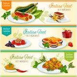 Ensemble populaire de bannière de plats de déjeuner de cuisine italienne illustration stock