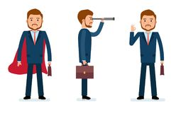 Ensemble prêt à employer de création de caractère Homme d'affaires se tenant dans un manteau, avec un télescope, montrant CORRECT Photo libre de droits
