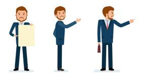 Ensemble prêt à employer de création de caractère indication par les doigts d'homme d'affaires Images stock