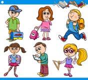 Ensemble primaire mignon de bande dessinée d'écoliers Image libre de droits