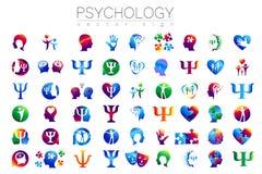Ensemble principal moderne de signe de psychologie Humain de profil Type créateur Symbole dans le vecteur Concept de construction illustration stock