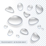 Ensemble pur transparent de baisse de l'eau d'aqua du vecteur 3D Photos stock