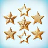 Ensemble réaliste d'étoile d'or Collection d'icône de récompense Illustration de vecteur photo stock