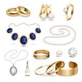 Ensemble réaliste d'accessoires de bijoux illustration stock
