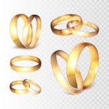 Ensemble réaliste d'anneau de mariage d'or d'illustration courante de vecteur d'isolement sur un fond à carreaux transparent EPS1 Photo stock