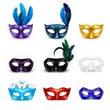 Ensemble réaliste d'icône de masque de mascarade illustration stock