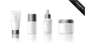 Ensemble réaliste de bouteille Calibre cosmétique de marque Images stock