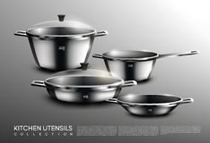 Ensemble réaliste de Cookware de cuisine illustration stock