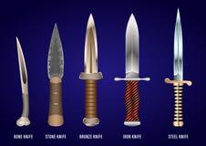 Ensemble réaliste de couteaux de combat historiques : os, pierre, bronze, fer, acier illustration stock