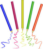 Ensemble réaliste de crayons colorés colorés photos libres de droits
