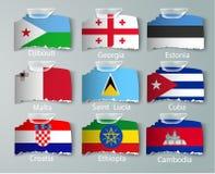 Ensemble réaliste de drapeaux du papier des pays avec des bandes illustration libre de droits