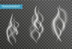 Ensemble réaliste de fumée d'isolement sur le fond transparent Cigarette, effet de vapeur Illustration de vecteur Photo stock