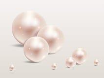 Ensemble réaliste de perle sur le fond blanc Perle précieuse sous la forme de sphère La perle est pierre brillante de luxe Photo libre de droits