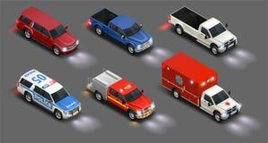 Ensemble réaliste de véhicules de transport illustration de vecteur