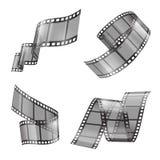 Ensemble réaliste de vecteur de bande de film, bandes de film Photo stock