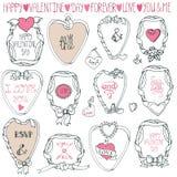 Ensemble romantique de cadre Main dessinant Valentine, épousant Photo stock
