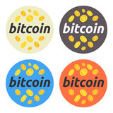 Ensemble rond d'illustration de Bitcoin Bitcoin, marché boursier et affaires, investissement, gagnant l'argent, bénéfice, cryptoc photographie stock