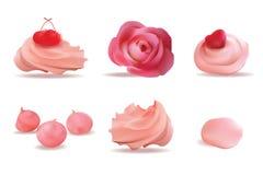 Ensemble rose délicieux de crème Illustration réaliste de vecteur Images libres de droits