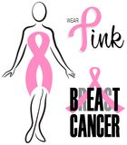 Ensemble rose d'agrafe de ruban de cancer du sein Image stock