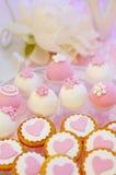 Ensemble rose et blanc de table de mariage Image stock