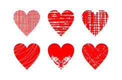 Ensemble rouge abstrait de coeur images stock
