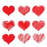 Ensemble rouge d'icône de coeur Image libre de droits