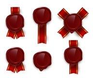 Ensemble rouge d'illustrations de vecteur de couleur de joints de rero de cire illustration de vecteur