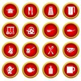 Ensemble rouge de cercle d'icône d'outils et d'ustensiles de cuisine Image libre de droits