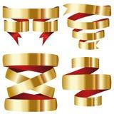 Ensemble rouge de collection de bannière de ruban d'or Photo stock