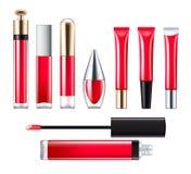 Ensemble rouge de lustre de lèvre illustration de vecteur