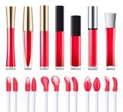 Ensemble rouge de lustre de lèvre illustration stock
