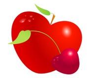 Ensemble rouge de pomme et de cerise de coeur de valentine d'isolement sur le fond blanc Symbole de l'amour, de la vie, de la san Photographie stock libre de droits