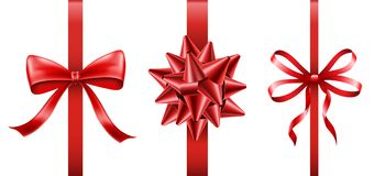 Ensemble rouge de ruban avec l'arc pour le cadeau et le présent Photo stock