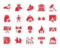 Ensemble rouge de vecteur d'icônes de silhouette de faillite illustration libre de droits