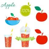 Ensemble rouge de vecteur de fruit et de jus de pommes Illustration de Vecteur