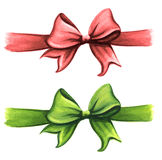 Ensemble rouge et vert de clipart (images graphiques) d'arc de ruban de cadeau Photos stock