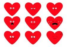 Ensemble rouge mignon d'emoji de forme de coeur Personnages de dessin animé drôles de kawaii Collection d'émotion Heureux, étonné illustration de vecteur