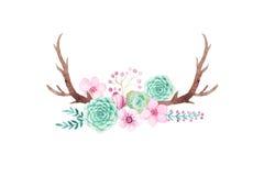 Ensemble rustique d'aquarelle de fleurs et de feuilles Images stock