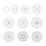 Ensemble sacré de la géométrie de découpe de Sexangle divers illustration de vecteur