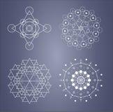 Ensemble sacré de la géométrie de symboles compliqués dans le vecteur Images stock