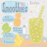 Ensemble sain de recette de smoothie Image libre de droits