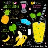 Ensemble sain de recette de smoothie Image stock