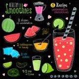 Ensemble sain de recette de smoothie Photographie stock