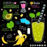 Ensemble sain de recette de smoothie Photos libres de droits